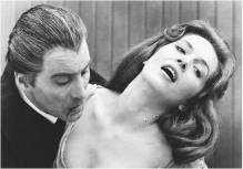 Christopher Lee with Barbara Shelley in Dracula, Prince of Darkness.